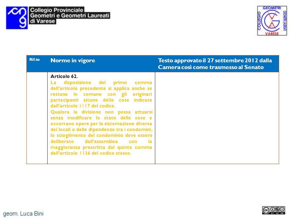 Rif.to Norme in vigoreTesto approvato il 27 settembre 2012 dalla Camera così come trasmesso al Senato Articolo 62. La disposizione del primo comma del