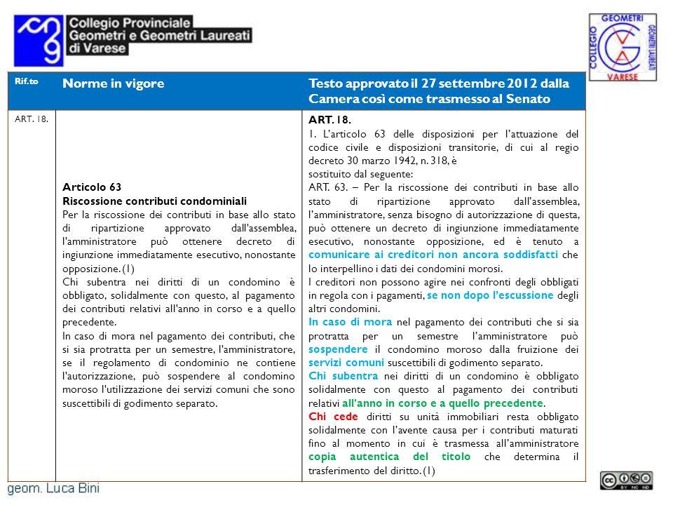 Rif.to Norme in vigoreTesto approvato il 27 settembre 2012 dalla Camera così come trasmesso al Senato ART. 18. Articolo 63 Riscossione contributi cond