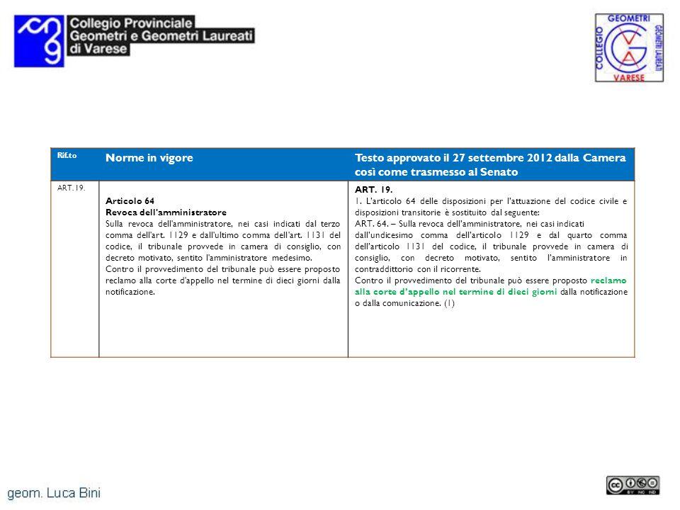 Rif.to Norme in vigoreTesto approvato il 27 settembre 2012 dalla Camera così come trasmesso al Senato ART. 19. Articolo 64 Revoca dell'amministratore