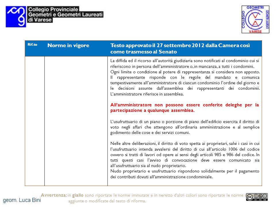 Rif.to Norme in vigoreTesto approvato il 27 settembre 2012 dalla Camera così come trasmesso al Senato La diffida ed il ricorso allautorità giudiziaria