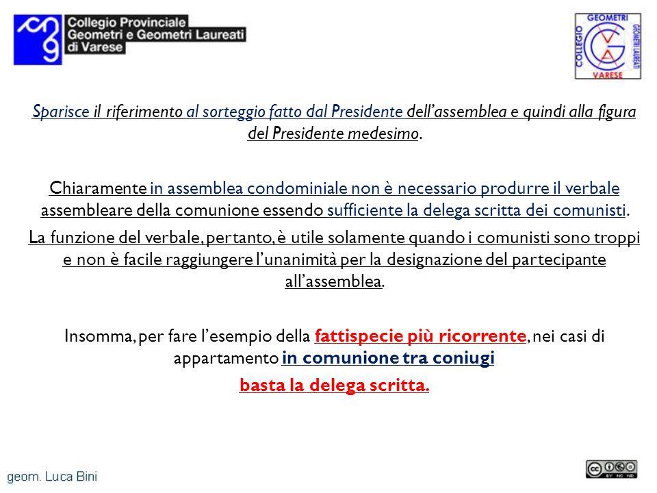 Sparisce il riferimento al sorteggio fatto dal Presidente dellassemblea e quindi alla figura del Presidente medesimo.