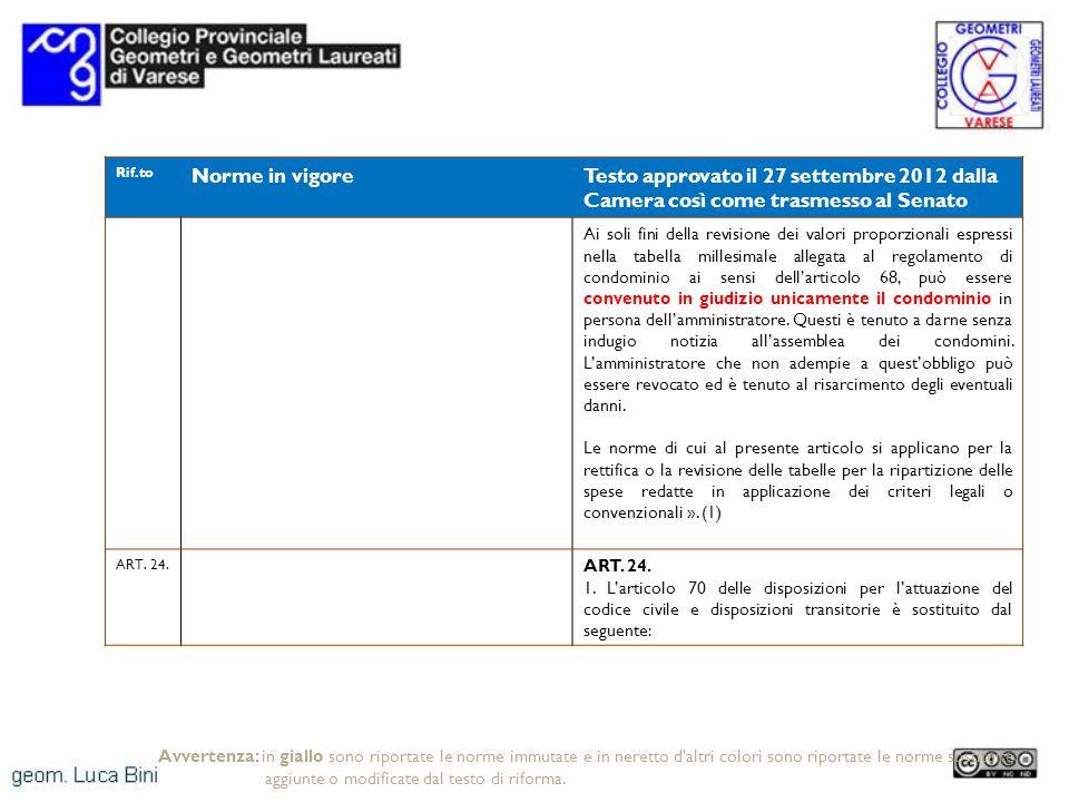 Rif.to Norme in vigoreTesto approvato il 27 settembre 2012 dalla Camera così come trasmesso al Senato Ai soli fini della revisione dei valori proporzi