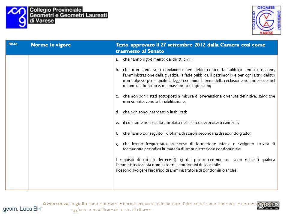 Rif.to Norme in vigoreTesto approvato il 27 settembre 2012 dalla Camera così come trasmesso al Senato a.che hanno il godimento dei diritti civili; b.c