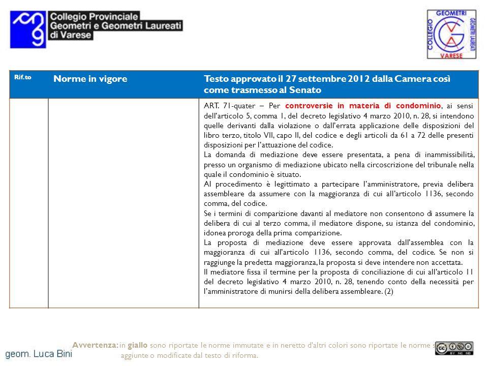 Rif.to Norme in vigoreTesto approvato il 27 settembre 2012 dalla Camera così come trasmesso al Senato ART. 71-quater – Per controversie in materia di