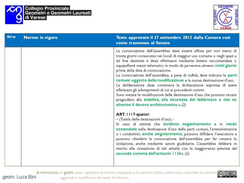 Rif.to Norme in vigoreTesto approvato il 27 settembre 2012 dalla Camera così come trasmesso al Senato La convocazione dellassemblea deve essere affiss