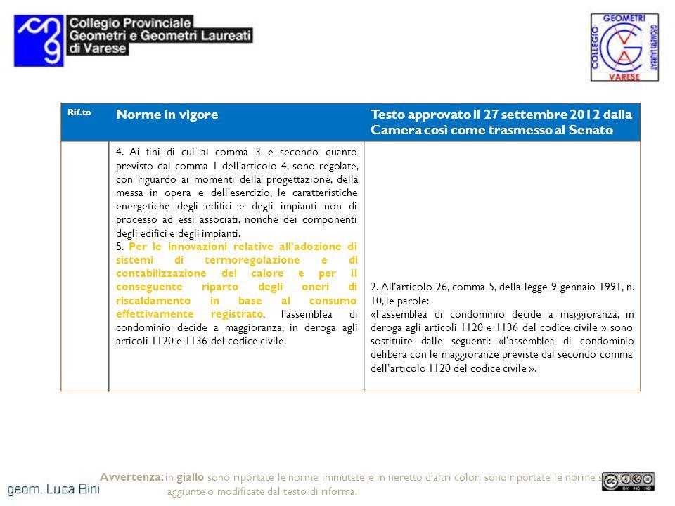 Rif.to Norme in vigoreTesto approvato il 27 settembre 2012 dalla Camera così come trasmesso al Senato 4.