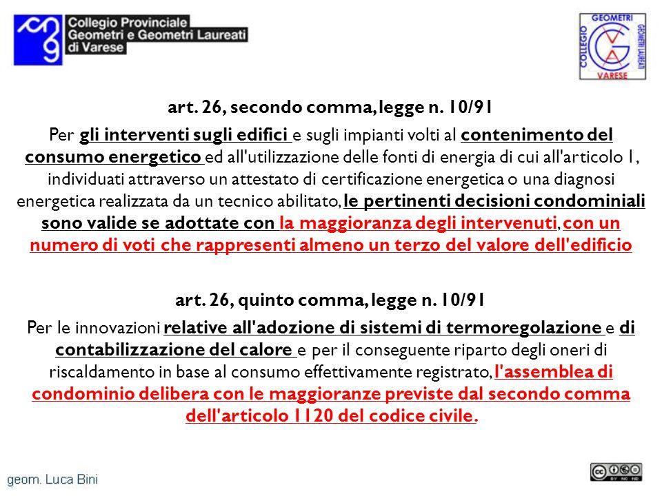 art. 26, secondo comma, legge n. 10/91 Per gli interventi sugli edifici e sugli impianti volti al contenimento del consumo energetico ed all'utilizzaz