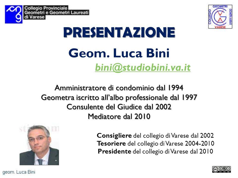 PRESENTAZIONE Geom. Luca Bini bini@studiobini.va.it Amministratore di condominio dal 1994 Geometra iscritto allalbo professionale dal 1997 Consulente