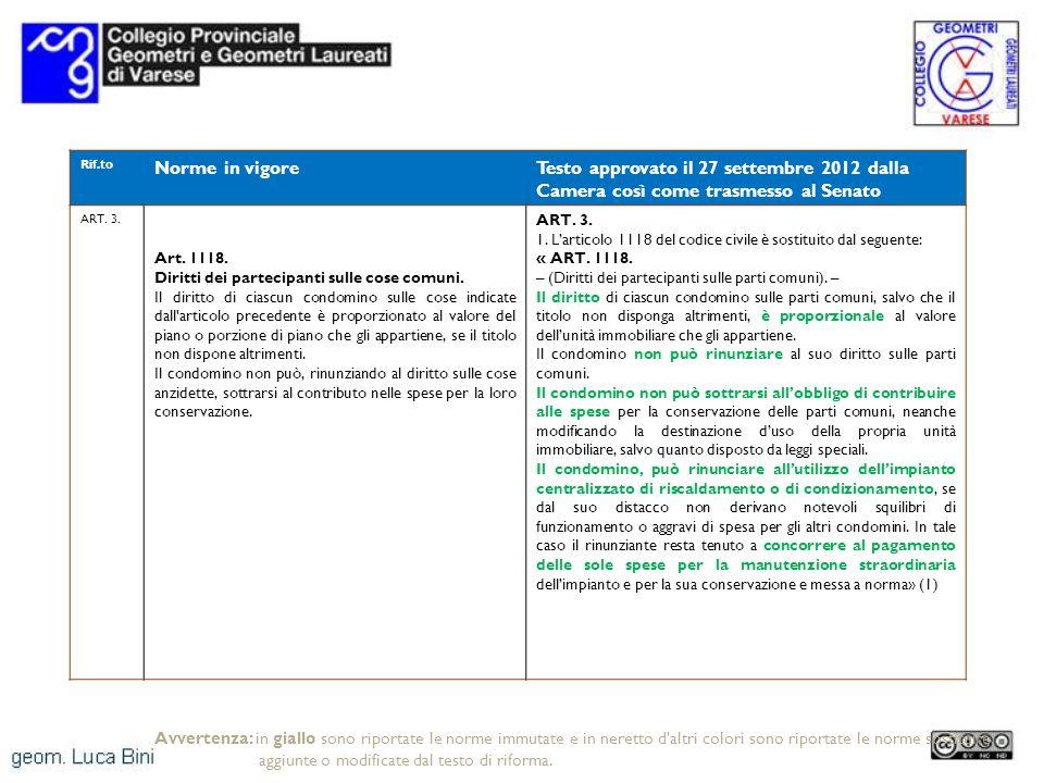 Rif.to Norme in vigoreTesto approvato il 27 settembre 2012 dalla Camera così come trasmesso al Senato ART. 3. Art. 1118. Diritti dei partecipanti sull