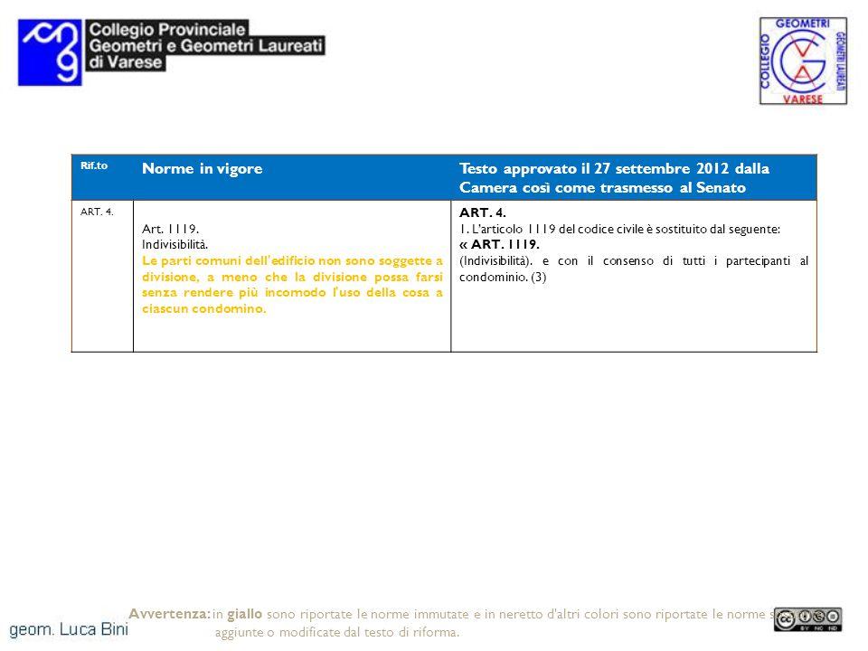 Rif.to Norme in vigoreTesto approvato il 27 settembre 2012 dalla Camera così come trasmesso al Senato ART. 4. Art. 1119. Indivisibilità. Le parti comu