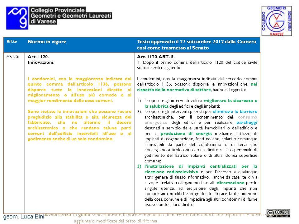Rif.to Norme in vigoreTesto approvato il 27 settembre 2012 dalla Camera così come trasmesso al Senato ART. 5. Art. 1120. Innovazioni. I condomini, con