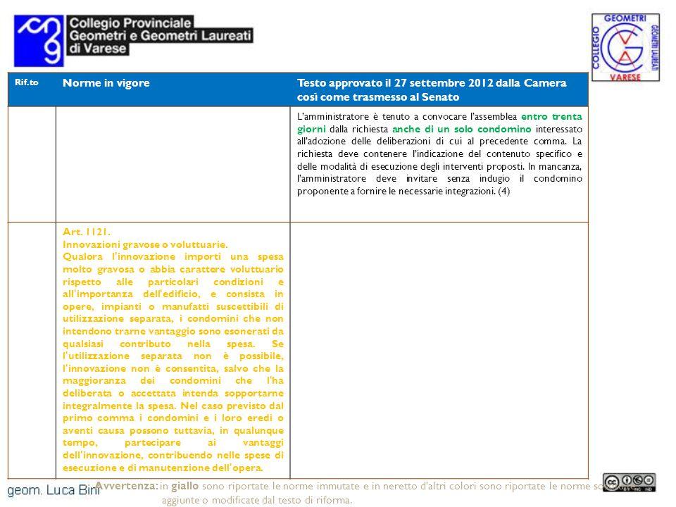 Rif.to Norme in vigoreTesto approvato il 27 settembre 2012 dalla Camera così come trasmesso al Senato Lamministratore è tenuto a convocare lassemblea entro trenta giorni dalla richiesta anche di un solo condomino interessato alladozione delle deliberazioni di cui al precedente comma.