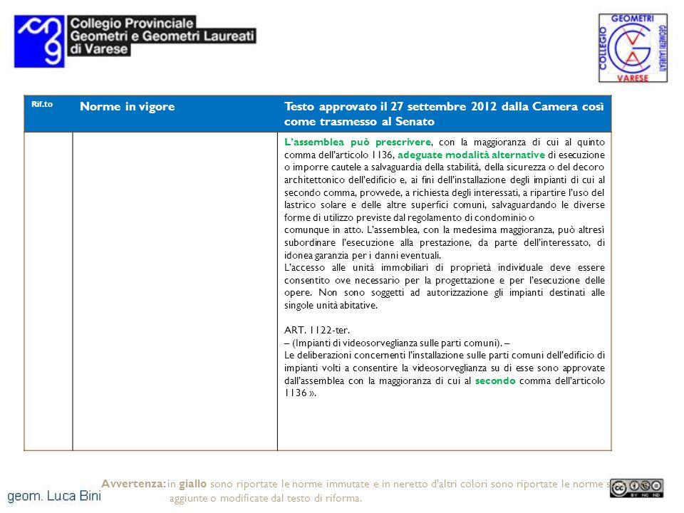 Rif.to Norme in vigoreTesto approvato il 27 settembre 2012 dalla Camera così come trasmesso al Senato Lassemblea può prescrivere, con la maggioranza d