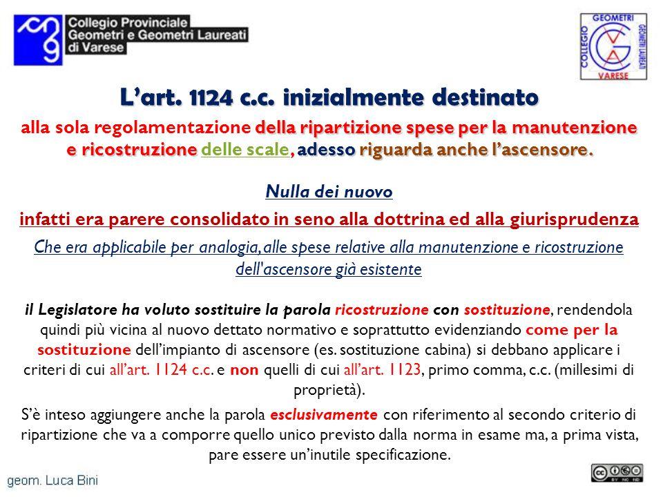 Lart. 1124 c.c. inizialmente destinato della ripartizione spese per la manutenzione e ricostruzione adessoriguarda anche lascensore. alla sola regolam