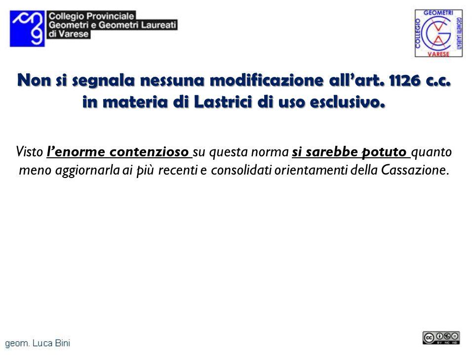 Non si segnala nessuna modificazione allart. 1126 c.c. in materia di Lastrici di uso esclusivo. Visto lenorme contenzioso su questa norma si sarebbe p
