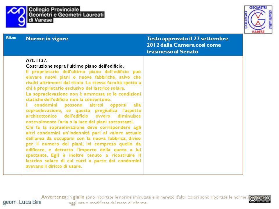Rif.to Norme in vigoreTesto approvato il 27 settembre 2012 dalla Camera così come trasmesso al Senato Art. 1127. Costruzione sopra l'ultimo piano dell
