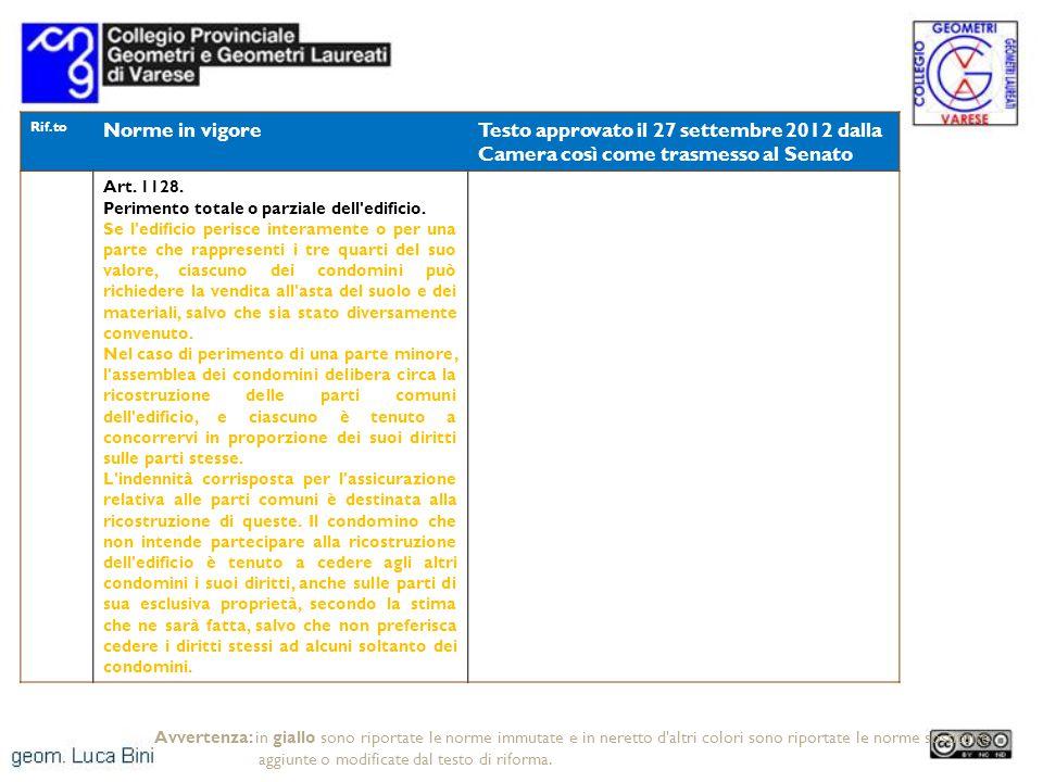 Rif.to Norme in vigoreTesto approvato il 27 settembre 2012 dalla Camera così come trasmesso al Senato Art. 1128. Perimento totale o parziale dell'edif