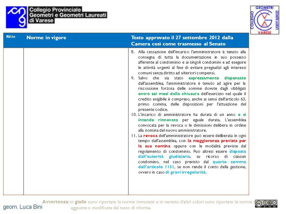 Rif.to Norme in vigoreTesto approvato il 27 settembre 2012 dalla Camera così come trasmesso al Senato 8.Alla cessazione dellincarico lamministratore è