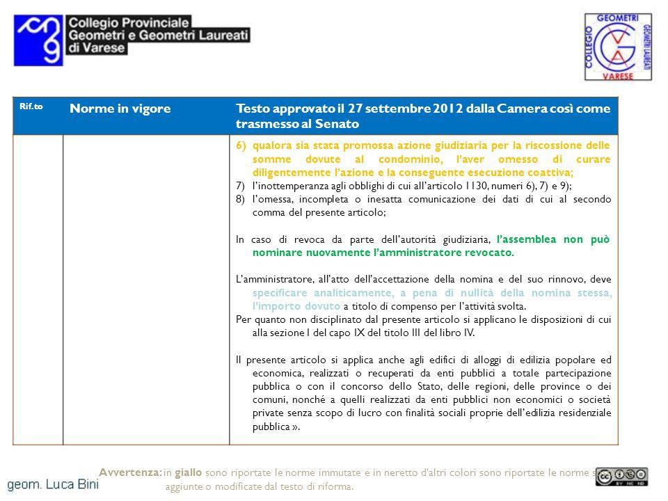 Rif.to Norme in vigoreTesto approvato il 27 settembre 2012 dalla Camera così come trasmesso al Senato 6)qualora sia stata promossa azione giudiziaria