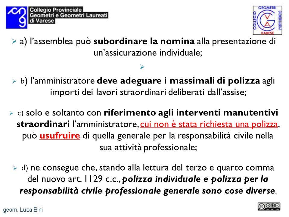 a) lassemblea può subordinare la nomina alla presentazione di unassicurazione individuale; b ) lamministratore deve adeguare i massimali di polizza ag