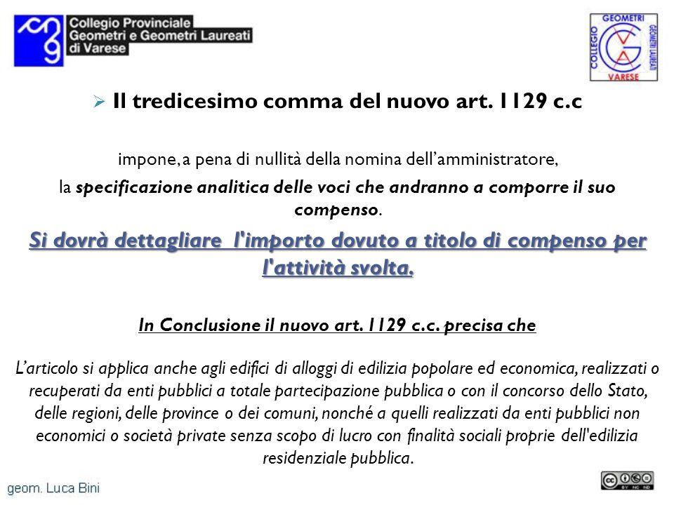 Il tredicesimo comma del nuovo art. 1129 c.c impone, a pena di nullità della nomina dellamministratore, la specificazione analitica delle voci che and