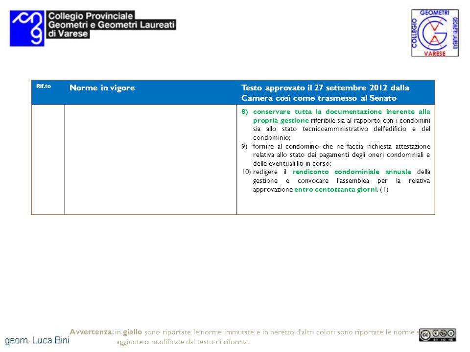 Rif.to Norme in vigoreTesto approvato il 27 settembre 2012 dalla Camera così come trasmesso al Senato 8)conservare tutta la documentazione inerente al