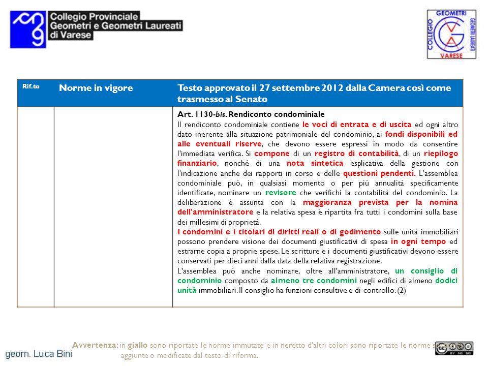 Rif.to Norme in vigoreTesto approvato il 27 settembre 2012 dalla Camera così come trasmesso al Senato Art. 1130-bis. Rendiconto condominiale Il rendic