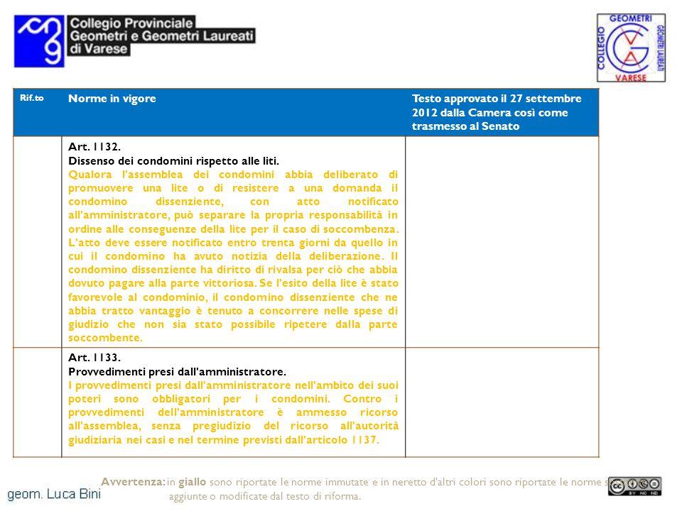 Rif.to Norme in vigoreTesto approvato il 27 settembre 2012 dalla Camera così come trasmesso al Senato Art. 1132. Dissenso dei condomini rispetto alle