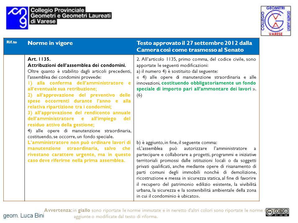 Rif.to Norme in vigoreTesto approvato il 27 settembre 2012 dalla Camera così come trasmesso al Senato Art. 1135. Attribuzioni dell'assemblea dei condo