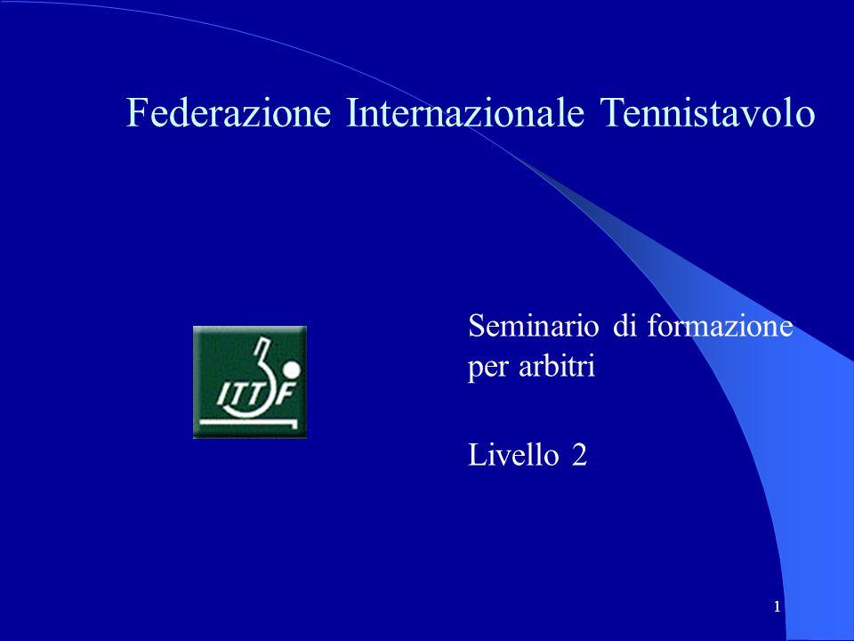 1 Federazione Internazionale Tennistavolo Seminario di formazione per arbitri Livello 2