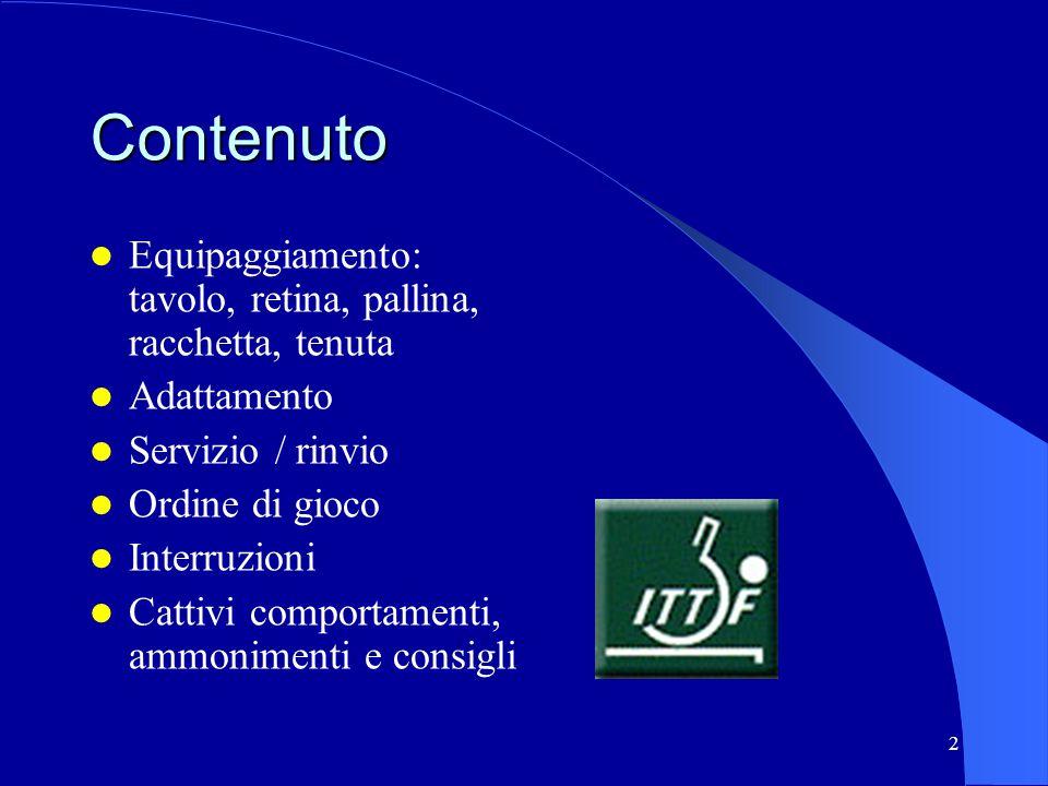 2 Contenuto Equipaggiamento: tavolo, retina, pallina, racchetta, tenuta Adattamento Servizio / rinvio Ordine di gioco Interruzioni Cattivi comportamen
