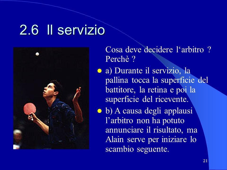 21 2.6 Il servizio Cosa deve decidere larbitro ? Perchè ? a) Durante il servizio, la pallina tocca la superficie del battitore, la retina e poi la sup