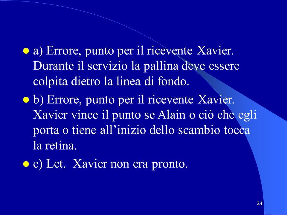24 a) Errore, punto per il ricevente Xavier. Durante il servizio la pallina deve essere colpita dietro la linea di fondo. b) Errore, punto per il rice