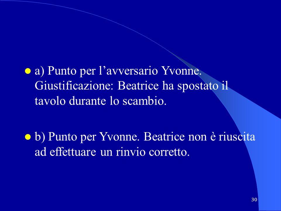 30 a) Punto per lavversario Yvonne. Giustificazione: Beatrice ha spostato il tavolo durante lo scambio. b) Punto per Yvonne. Beatrice non è riuscita a
