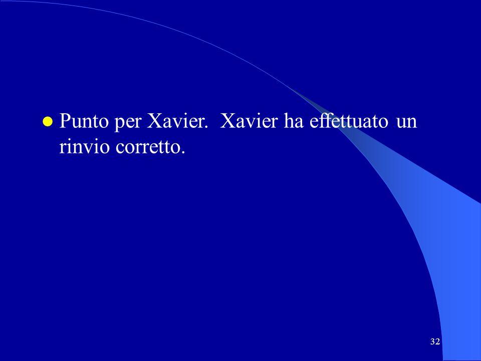 32 Punto per Xavier. Xavier ha effettuato un rinvio corretto.