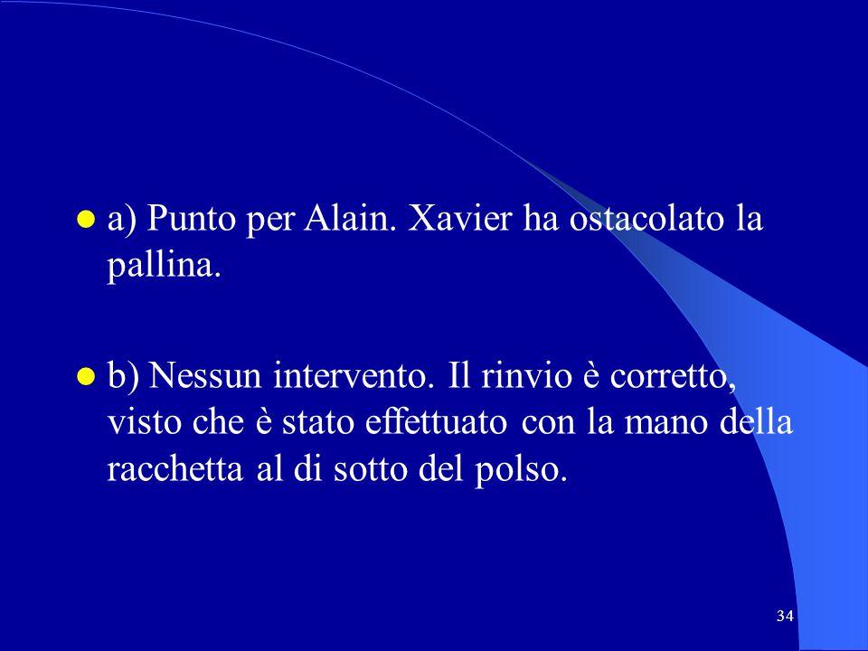 34 a) Punto per Alain. Xavier ha ostacolato la pallina. b) Nessun intervento. Il rinvio è corretto, visto che è stato effettuato con la mano della rac