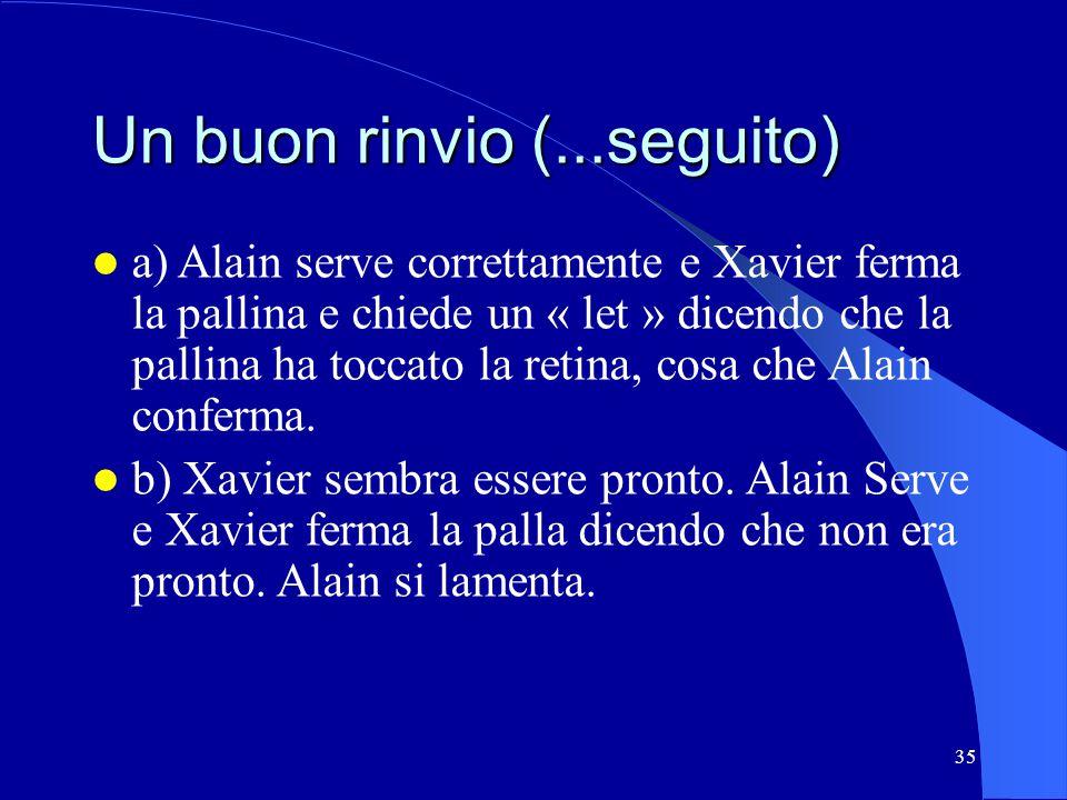 35 Un buon rinvio (...seguito) a) Alain serve correttamente e Xavier ferma la pallina e chiede un « let » dicendo che la pallina ha toccato la retina,