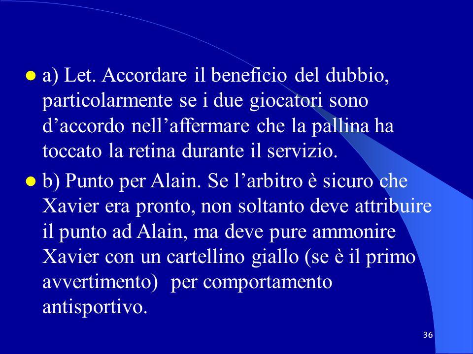 36 a) Let. Accordare il beneficio del dubbio, particolarmente se i due giocatori sono daccordo nellaffermare che la pallina ha toccato la retina duran