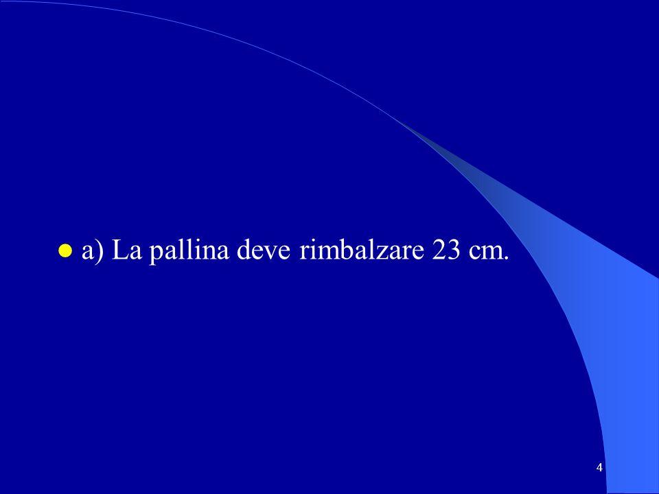 4 a) La pallina deve rimbalzare 23 cm.