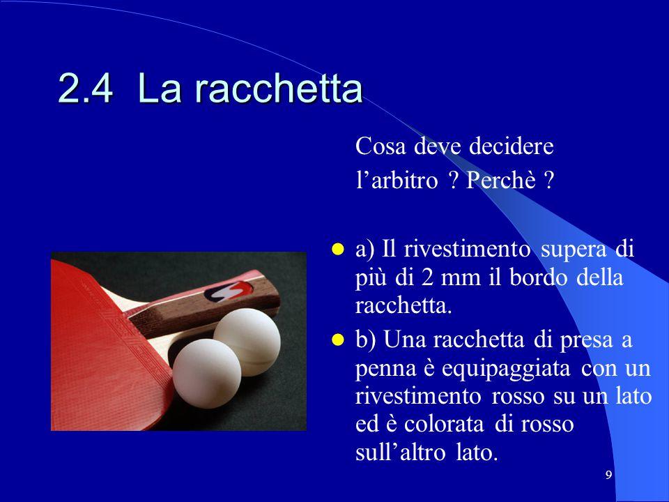 9 2.4 La racchetta Cosa deve decidere larbitro ? Perchè ? a) Il rivestimento supera di più di 2 mm il bordo della racchetta. b) Una racchetta di presa