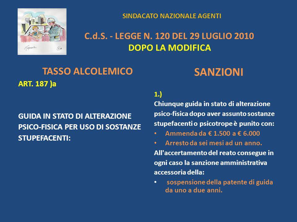 SINDACATO NAZIONALE AGENTI C.d.S. - LEGGE N. 120 DEL 29 LUGLIO 2010 DOPO LA MODIFICA TASSO ALCOLEMICO ART. 187 )a GUIDA IN STATO DI ALTERAZIONE PSICO-