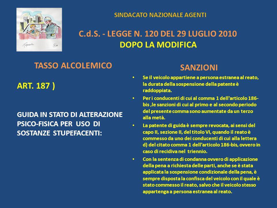 SINDACATO NAZIONALE AGENTI C.d.S. - LEGGE N. 120 DEL 29 LUGLIO 2010 DOPO LA MODIFICA TASSO ALCOLEMICO ART. 187 ) GUIDA IN STATO DI ALTERAZIONE PSICO-F