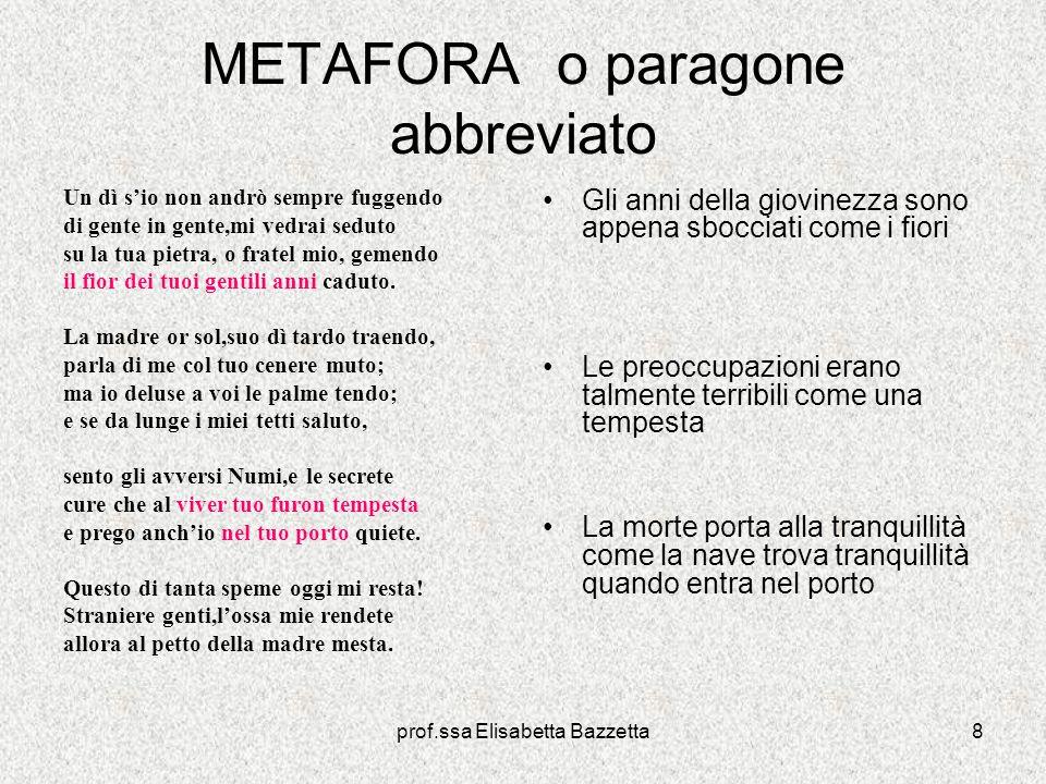 prof.ssa Elisabetta Bazzetta8 METAFORA o paragone abbreviato Un dì sio non andrò sempre fuggendo di gente in gente,mi vedrai seduto su la tua pietra,