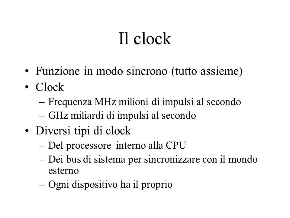 Il clock Funzione in modo sincrono (tutto assieme) Clock –Frequenza MHz milioni di impulsi al secondo –GHz miliardi di impulsi al secondo Diversi tipi