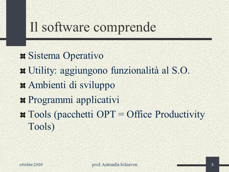 prof. Antonella Schiavon2 Il software è linsieme dei programmi che permettono di gestire ed utilizzare un sistema di elaborazione