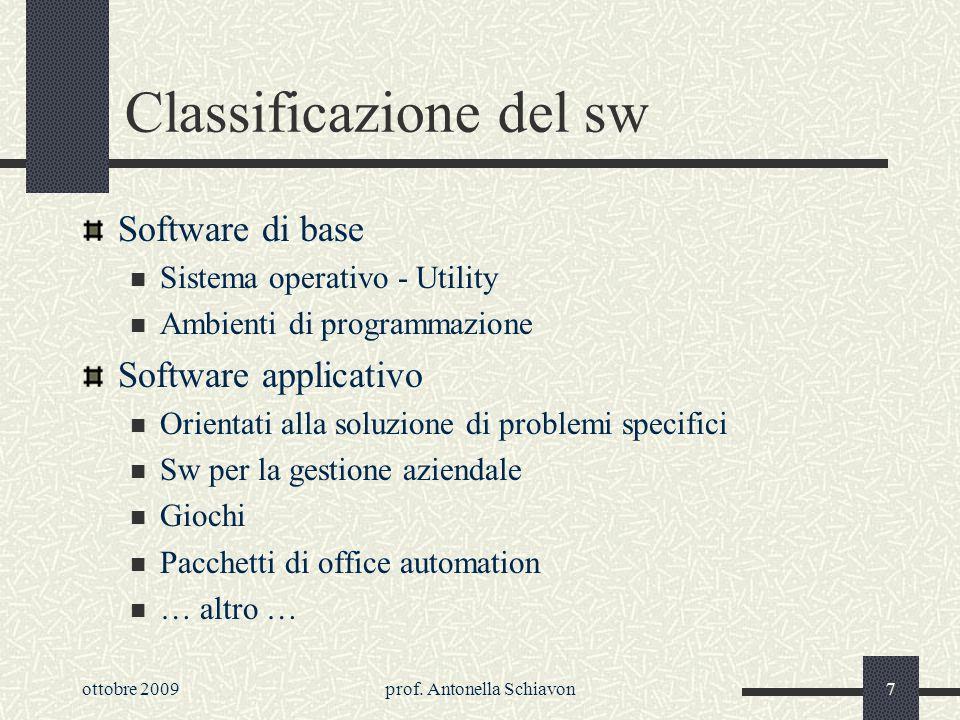 ottobre 2009prof. Antonella Schiavon6 Ambiente di sviluppo Comprende tutto il sw necessario alla realizzazione di nuovo sw Compilatore: in genere anal