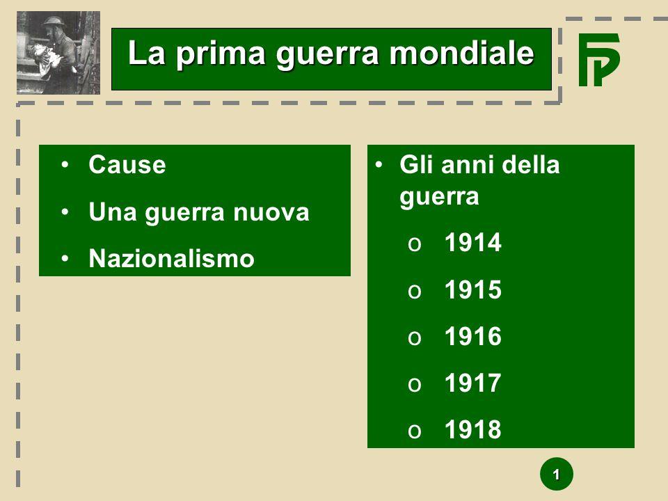 1 La prima guerra mondiale Cause Una guerra nuova Nazionalismo Gli anni della guerra o1914 o1915 o1916 o1917 o1918