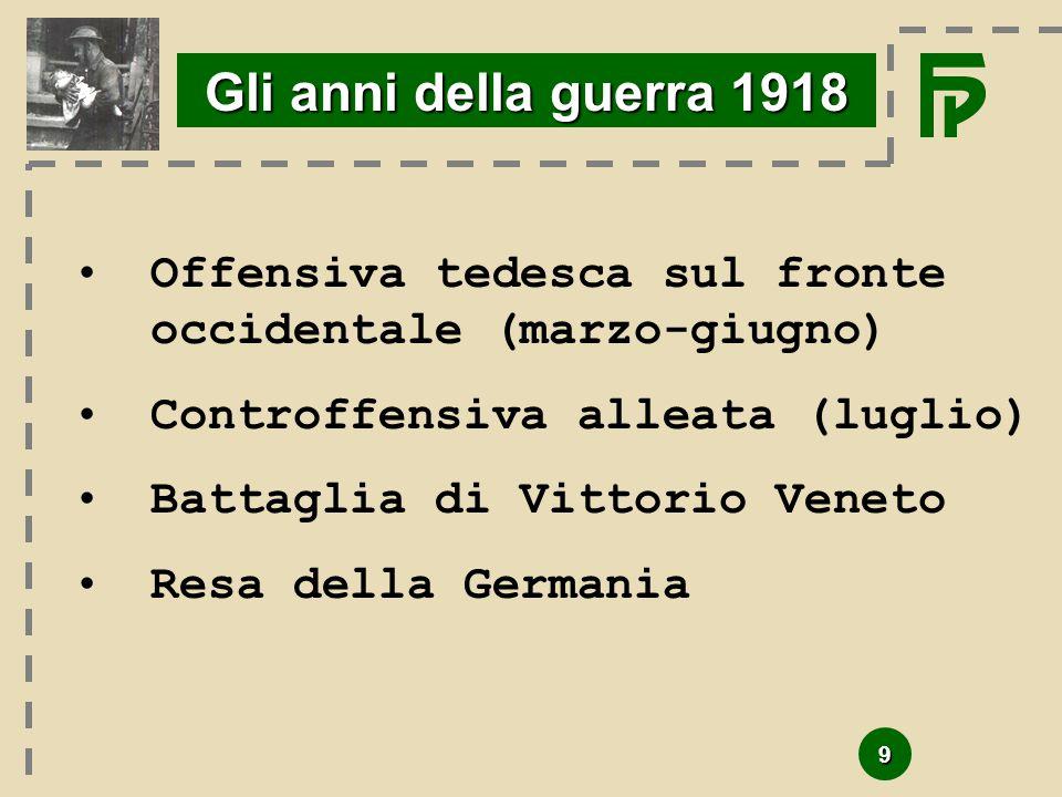 9 Gli anni della guerra 1918 Offensiva tedesca sul fronte occidentale (marzo-giugno) Controffensiva alleata (luglio) Battaglia di Vittorio Veneto Resa