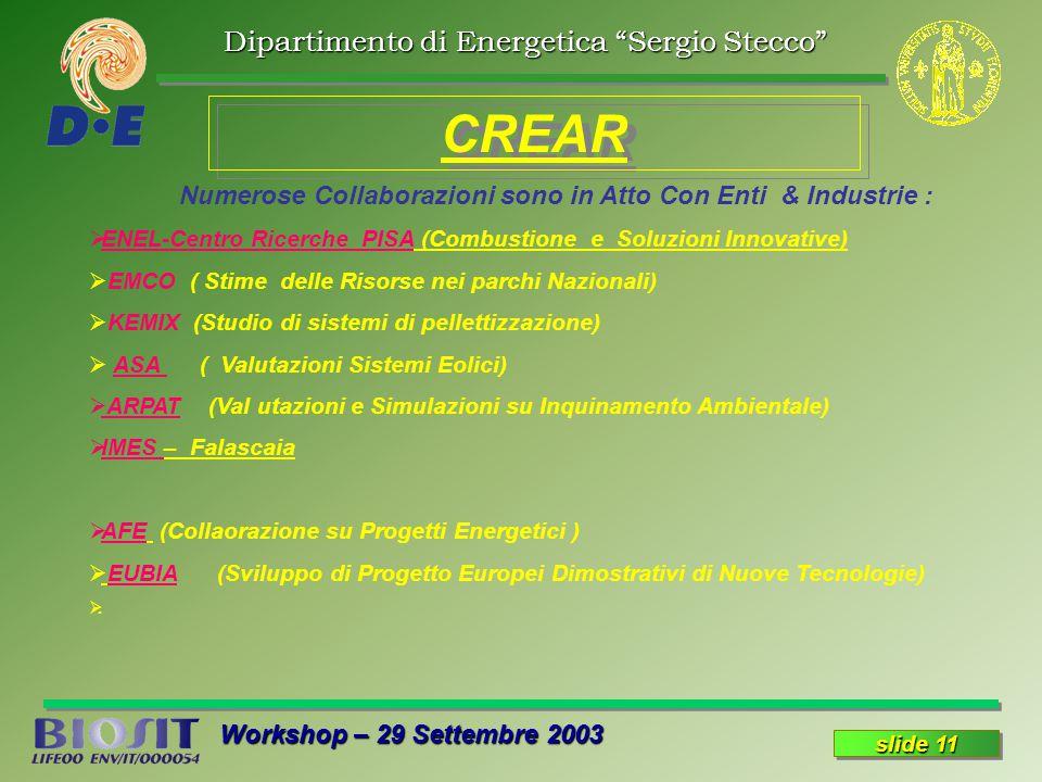 Dipartimento di Energetica Sergio Stecco Workshop – 29 Settembre 2003 slide 11 CREAR Numerose Collaborazioni sono in Atto Con Enti & Industrie : ENEL-Centro Ricerche PISA (Combustione e Soluzioni Innovative) EMCO ( Stime delle Risorse nei parchi Nazionali) KEMIX (Studio di sistemi di pellettizzazione) ASA ( Valutazioni Sistemi Eolici) ARPAT (Val utazioni e Simulazioni su Inquinamento Ambientale) IMES – Falascaia AFE (Collaorazione su Progetti Energetici ) EUBIA (Sviluppo di Progetto Europei Dimostrativi di Nuove Tecnologie).