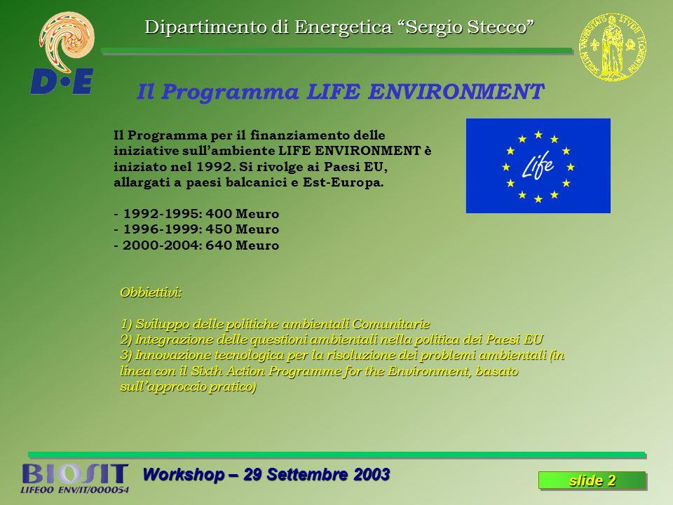 Dipartimento di Energetica Sergio Stecco Workshop – 29 Settembre 2003 slide 2 Il Programma LIFE ENVIRONMENT Il Programma per il finanziamento delle iniziative sullambiente LIFE ENVIRONMENT è iniziato nel 1992.